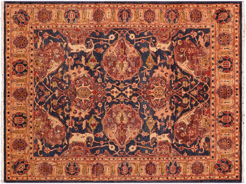 "A02309, 5' 2"" X  7' 0"",Traditional                   ,5' x 7',Blue,GOLD,Hand-knotted                  ,Pakistan   ,100% Wool  ,Rectangle  ,652671143816"