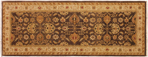 "A02325, 3' 2"" X  8' 1"",Transitional                  ,3' x 8',Brown,IVORY,Hand-knotted                  ,Pakistan   ,100% Wool  ,Runner     ,652671143977"