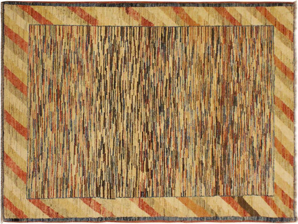 Modern Gabbeh Trista Blue Beige Hand Knotted Area Rugs 3 X 5