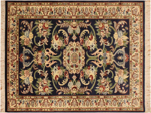 "A02362, 3' 2"" X  5' 3"",Traditional                   ,3' x 5',Navy,IVORY,Hand-knotted                  ,Pakistan   ,100% Wool  ,Rectangle  ,652671144349"