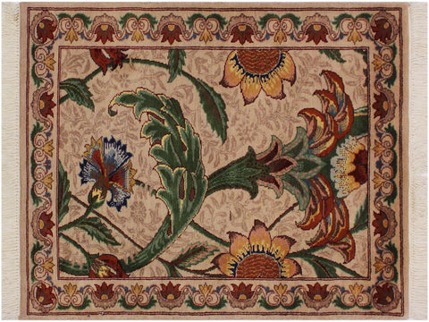 "A02451, 2' 0"" X  3' 2"",Traditional                   ,2' x 3',Tan,GREEN,Hand-knotted                  ,Pakistan   ,100% Wool  ,Rectangle  ,652671145216"