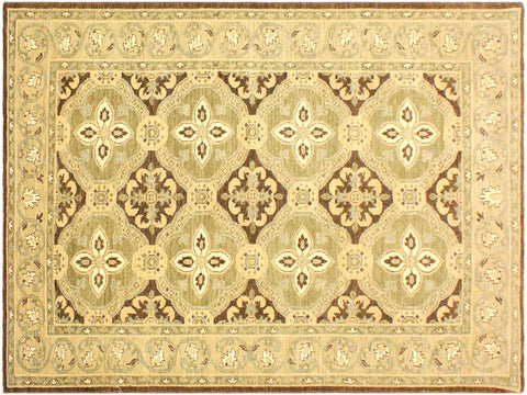 "A02625, 4' 2"" X  6' 8"",Transitional                  ,4' x 7',Brown,GREEN,Hand-knotted                  ,Pakistan   ,100% Wool  ,Runner     ,652671146930"