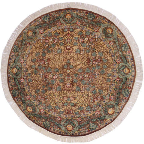 "A02633, 8' 0"" X  8' 1"",Traditional                   ,8' x 8',Brown,GREEN,Hand-knotted                  ,Pakistan   ,100% Wool  ,Round      ,652671147012"