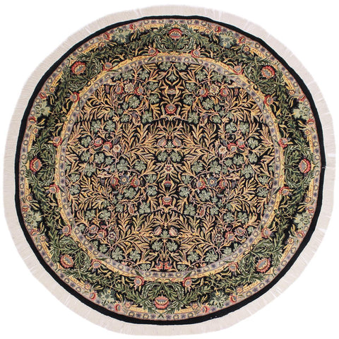 handmade Traditional Imran Black Green Hand Knotted ROUND 100% WOOL area rug 8x8'