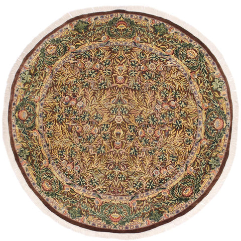 handmade Traditional Imran Brown Gray Hand Knotted ROUND 100% WOOL area rug 8x8'