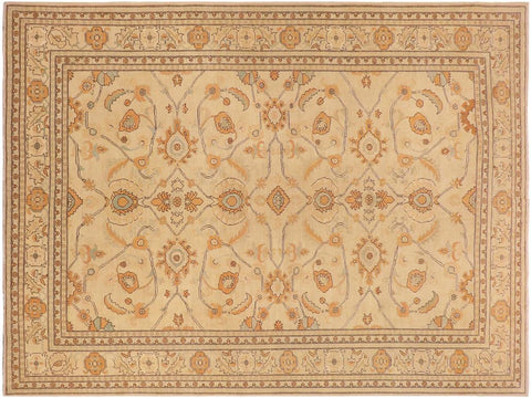 handmade Transitional Kafkaz Tan Orange Hand Knotted RECTANGLE 100% WOOL area rug 10' x 14'