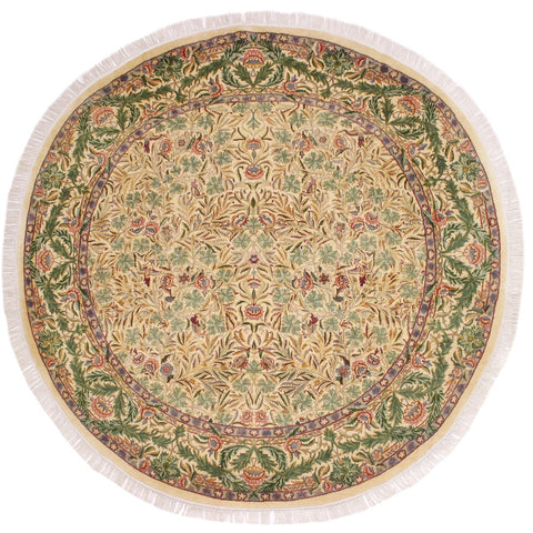 "A02662, 8' 1"" X  8' 2"",Traditional                   ,8' x 8',Natural,GREEN,Hand-knotted                  ,Pakistan   ,100% Wool  ,Round      ,652671147302"