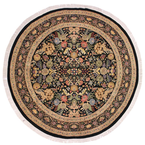 handmade Traditional Nagi Black Gray Hand Knotted ROUND 100% WOOL area rug 9x9'