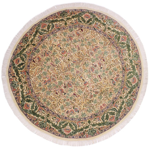 handmade Traditional Imran Beige Green Hand Knotted ROUND 100% WOOL area rug 8x8'