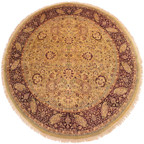 handmade Traditional Kashan Gold Red Hand Knotted ROUND 100% WOOL area rug 8x8 Hand knotted indoor Pak Persian vegetable dyed area rug made for all rooms with high quality New Zealand wool in rich color pallet weaved by skilled artisans in traditional transitional design known for quality and affordable price. Oriental rug offered at cheap discount for any decor, with Persian weave(KPSI upto 300)