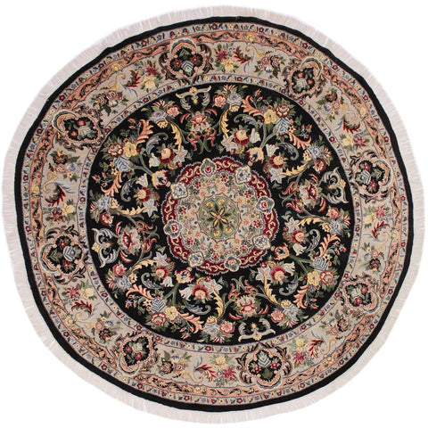 "A02700, 8' 0"" X  8' 2"",Traditional                   ,8' x 8',Black,LT. GRAY,Hand-knotted                  ,Pakistan   ,100% Wool  ,Round      ,652671147685"
