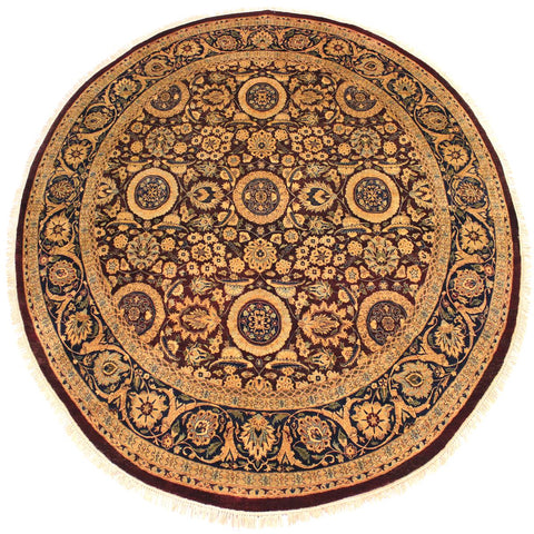 handmade Traditional Agra Tabriz Red Blue Hand Knotted ROUND 100% WOOL area rug 8x8 Hand knotted indoor Pak Persian vegetable dyed area rug made for all rooms with high quality New Zealand wool in rich color pallet weaved by skilled artisans in traditional transitional design known for quality and affordable price. Oriental rug offered at cheap discount for any decor, with Persian weave(KPSI upto 300)