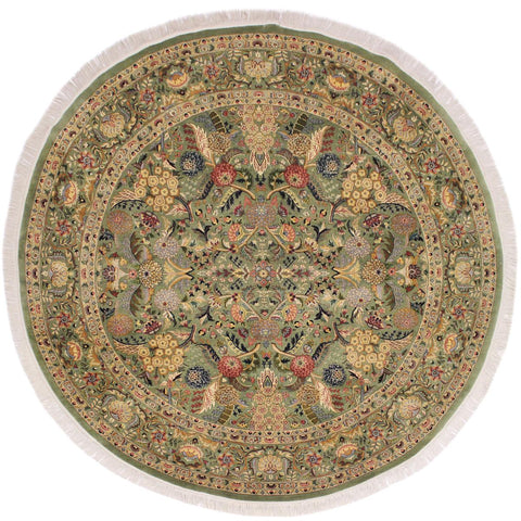 handmade Traditional Nagi Green Beige Hand Knotted ROUND 100% WOOL area rug 8x8'