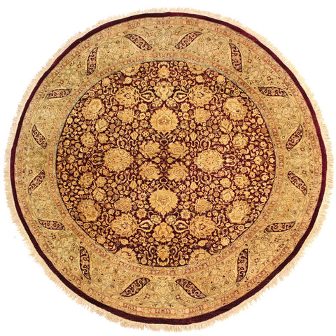 handmade Traditional Kashan Red Brown Hand Knotted ROUND 100% WOOL area rug 8x8 Hand knotted indoor Pak Persian vegetable dyed area rug made for all rooms with high quality New Zealand wool in rich color pallet weaved by skilled artisans in traditional transitional design known for quality and affordable price. Oriental rug offered at cheap discount for any decor, with Persian weave(KPSI upto 300)