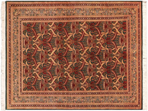 "A02716, 5' 5"" X  8' 1"",Transitional                  ,5' x 8',Green,GOLD,Hand-knotted                  ,Pakistan   ,100% Wool  ,Rectangle  ,652671147838"