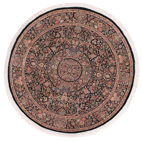 handmade Traditional Kashan Black Pink Hand Knotted ROUND 100% WOOL area rug 8x8'