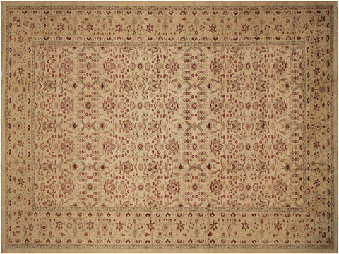 "A02728,12' 2"" X 18' 9"",Transitiona,12' x 19',Tan,RED,Hand-knotted                  ,Pakistan   ,100% Wool  ,Rectangle  ,652671147944"