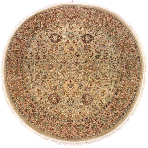 "A02734, 7'10"" X  7'11"",Traditional                   ,8' x 8',Green,LT. BROWN,Hand-knotted                  ,Pakistan   ,100% Wool  ,Round      ,652671148002"