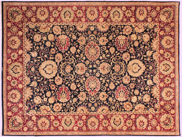 handmade Traditional Agra Blue Red Hand Knotted RECTANGLE 100% WOOL area rug 10x14 Hand knotted indoor Pak Persian vegetable dyed area rug made for all rooms with high quality New Zealand wool in rich color pallet weaved by skilled artisans in traditional transitional design known for quality and affordable price. Oriental rug offered at cheap discount for any decor, with Persian weave(KPSI upto 300)