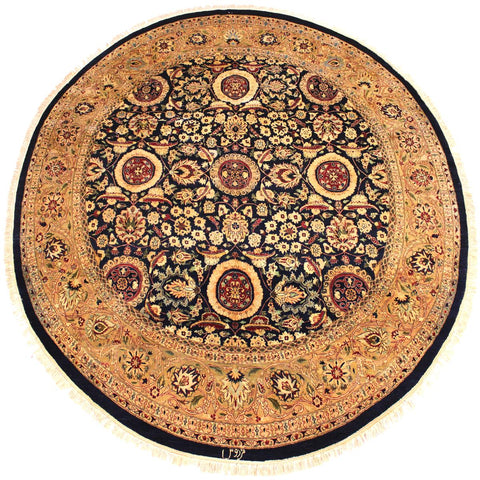 handmade Traditional Agra Tabriz Blue Tan Hand Knotted ROUND 100% WOOL area rug 8x8 Hand knotted indoor Pak Persian vegetable dyed area rug made for all rooms with high quality New Zealand wool in rich color pallet weaved by skilled artisans in traditional transitional design known for quality and affordable price. Oriental rug offered at cheap discount for any decor, with Persian weave(KPSI upto 300)