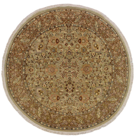 handmade Traditional Kashan Green Brown Hand Knotted ROUND 100% WOOL area rug 6x6'