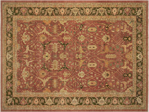 "A02758,12' 3"" X 17' 7"",Transitiona,12' x 18',Pink,GREEN,Hand-knotted                  ,Pakistan   ,100% Wool  ,Rectangle  ,652671148248"