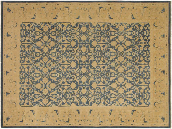 "A02764,10' 0"" X 13' 6"",Transitional                  ,10' x 14',Blue,TAN,Hand-knotted                  ,Pakistan   ,100% Wool  ,Rectangle  ,652671148309"