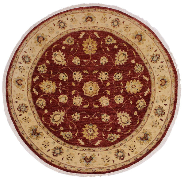 "A02787, 8' 0"" X  8' 3"",Traditional                   ,8' x 8',Red,IVORY,Hand-knotted                  ,Pakistan   ,100% Wool  ,Round      ,652671148538"