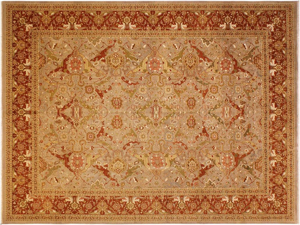 handmade Traditional Shama Taupe Rust Hand Knotted RECTANGLE 100% WOOL area rug 10x13 Hand knotted indoor Pak Persian vegetable dyed area rug made for all rooms with high quality New Zealand wool in rich color pallet weaved by skilled artisans in traditional transitional design known for quality and affordable price. Oriental rug offered at cheap discount for any decor, with Persian weave(KPSI upto 300)