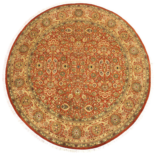 handmade Traditional Nauras Rust Beige Hand Knotted ROUND 100% WOOL area rug 7x7 Hand knotted indoor Pak Persian vegetable dyed area rug made for all rooms with high quality New Zealand wool in rich color pallet weaved by skilled artisans in traditional transitional design known for quality and affordable price. Oriental rug offered at cheap discount for any decor, with Persian weave(KPSI upto 300)