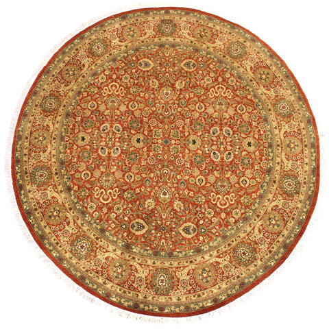 "A02820, 7' 2"" X  7' 3"",Traditional                   ,7' x 7',Rust,IVORY,Hand-knotted                  ,Pakistan   ,100% Wool  ,Round      ,652671148842"