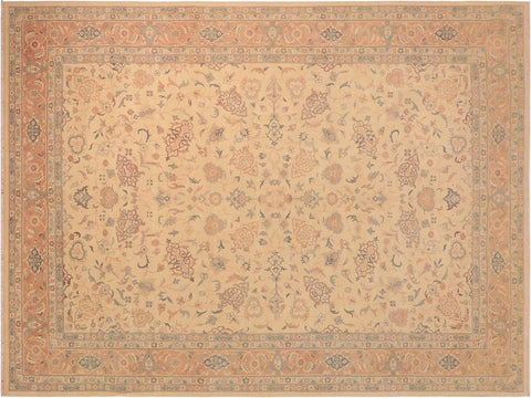 handmade Traditional Kafkaz Beige Brown Hand Knotted RECTANGLE 100% WOOL area rug 10' x 14'