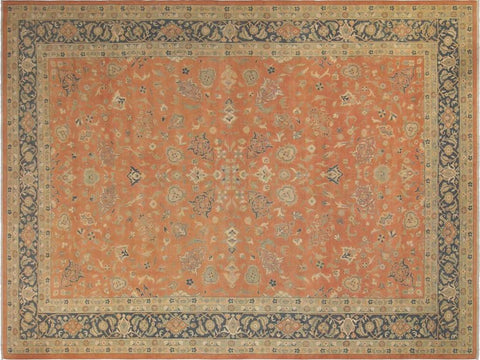 "A02861,10' 1"" X 13' 7"",Traditional,10' x 14',Orange,TEAL,Hand-knotted                  ,Pakistan   ,100% Wool  ,Rectangle  ,652671149252"