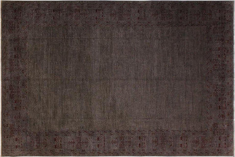 "A02863,10' 0"" X 13' 8"",Over Dyed                     ,10' x 14',Grey,DRK. RED,Hand-knotted                  ,Pakistan   ,100% Wool  ,Rectangle  ,652671149276"