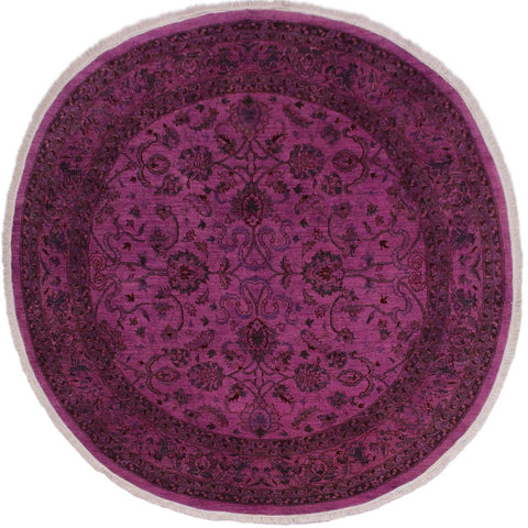 "A02864, 7' 8"" X  8' 1"",Over Dyed                     ,8' x 8',Purple,RED,Hand-knotted                  ,Pakistan   ,100% Wool  ,Round      ,652671149283"