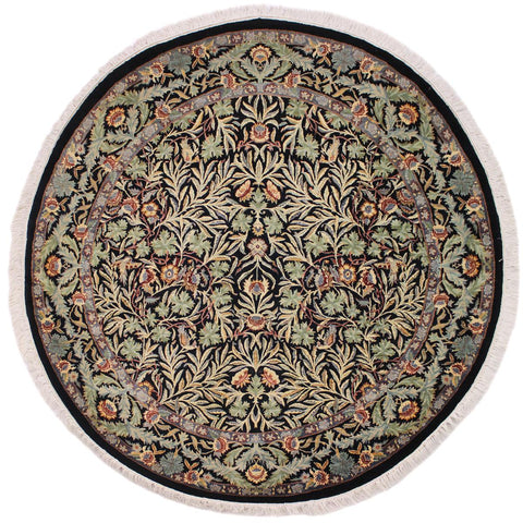 handmade Traditional Imran Black Grey Hand Knotted ROUND 100% WOOL area rug 6x6'
