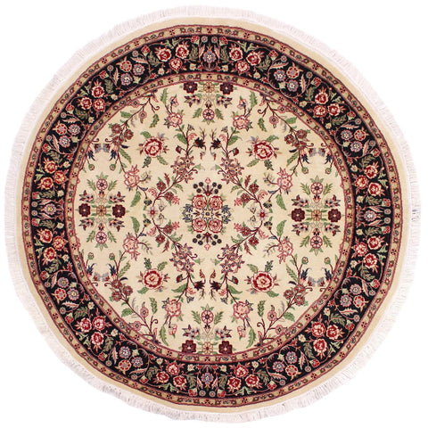 "A02871, 6' 2"" X  6' 3"",Traditional                   ,6' x 6',Natural,BLACK,Hand-knotted                  ,Pakistan   ,100% Wool  ,Round      ,652671149344"