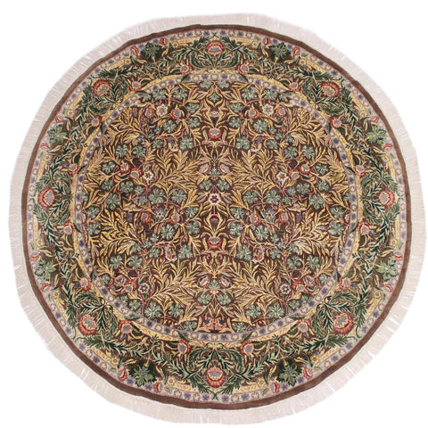 handmade Traditional Imran Brown Green Hand Knotted ROUND 100% WOOL area rug 8x8'