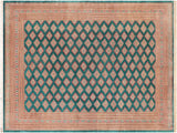 handmade Geometric Bokhara Green Pink Hand Knotted RECTANGLE 100% WOOL area rug 10 x 14 Hand knotted Bokhara area rug made for all rooms with pure organic wool in rich color pallet handmade by skilled artisans in geometric transitional tribal design is known for high quality wool and affordable price. Oriental rug offered at a cheap discount for any decor one of a kind area rugs Bokharas Bukharas Bokaras