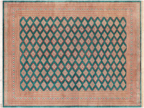 "A02895,10' 8"" X 14' 1"",Geometric                     ,10' x 14',Green,PINK,Hand-knotted                  ,Pakistan   ,100% Wool  ,Rectangle  ,652671149573"
