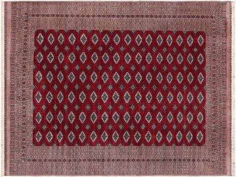 handmade Geometric Bokhara Red Tan Hand Knotted RECTANGLE 100% WOOL area rug 9' x 12'