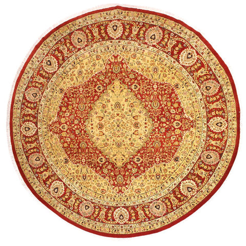 handmade Traditional Design Rust Ivory Hand Knotted ROUND 100% WOOL area rug 9x9 Hand knotted indoor Pak Persian vegetable dyed area rug made for all rooms with high quality New Zealand wool in rich color pallet weaved by skilled artisans in traditional transitional design known for quality and affordable price. Oriental rug offered at cheap discount for any decor, with Persian weave(KPSI upto 300)