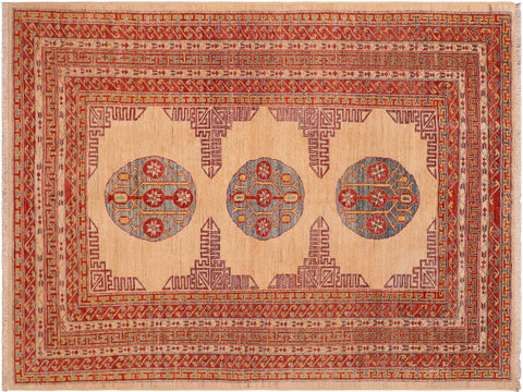 "A02913, 6' 2"" X  7'10"",Geometric                     ,6' x 8',Natural,RUST,Hand-knotted                  ,Pakistan   ,100% Wool  ,Rectangle  ,652671149740"