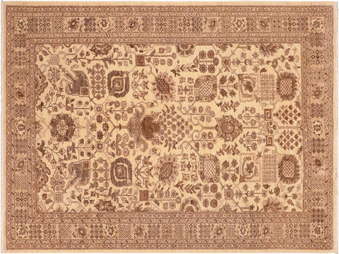 handmade Traditional Kafkaz Tan Beige Hand Knotted RECTANGLE 100% WOOL area rug 6 x 9