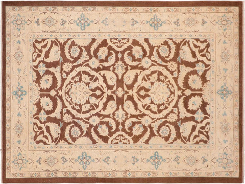 handmade Traditional Kafkaz Brown Tan Hand Knotted RECTANGLE 100% WOOL area rug 6 x 9