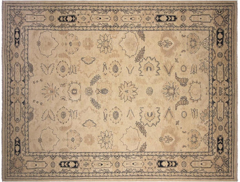 "A03002  9' 2"" X 11'11"" Traditional 9x12 IVORY TAN Hand Knotted                   Pakistan    100% Wool   Rectangle"