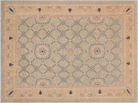 handmade Traditional Kafkaz Green Brown Hand Knotted RECTANGLE 100% WOOL area rug 9 x 12