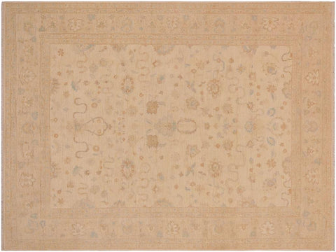 handmade Traditional Kafkaz Tan Beige Hand Knotted RECTANGLE 100% WOOL area rug 9 x 11