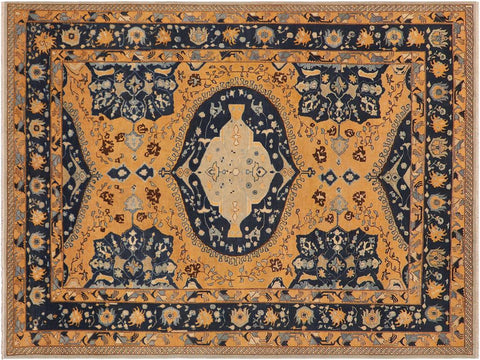 "A03082, 9' 0"" X 12' 1"",Geometric  ,9' x 12',ORANGE RUST,BLUE,Hand-knotted                  ,Pakistan   ,100% Wool  ,Rectangle  ,652671151385"