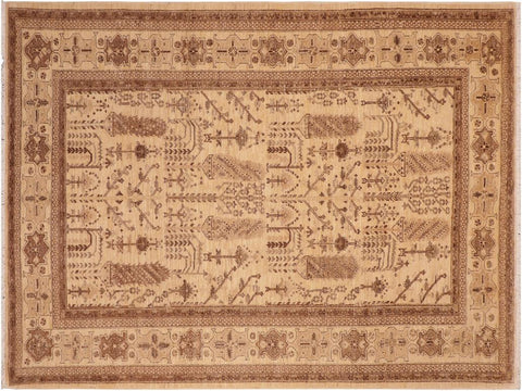 handmade Geometric Kafkaz Beige Brown Hand Knotted RECTANGLE 100% WOOL area rug 6 x 9